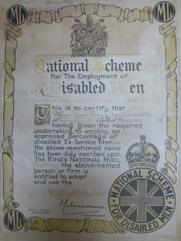 certificate for disabled men