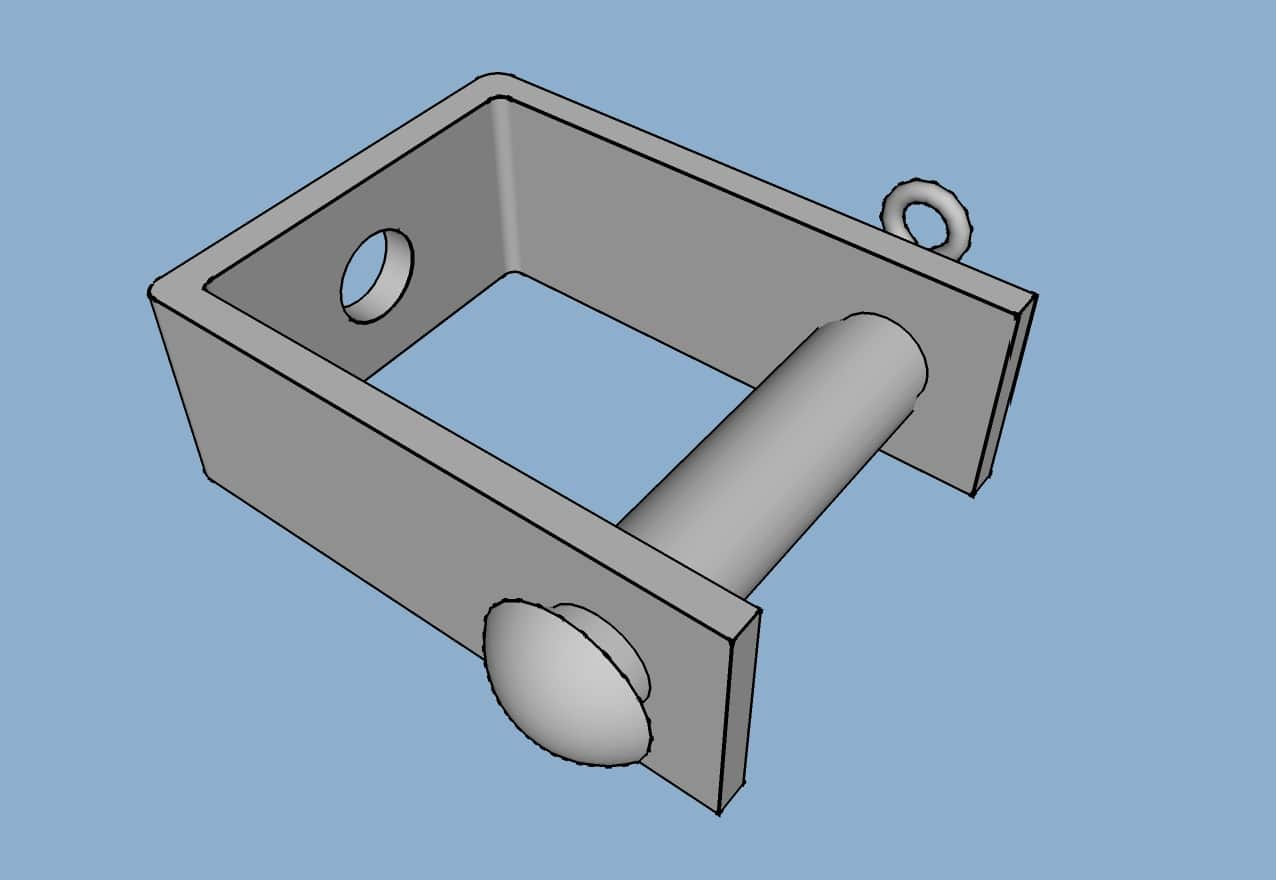D Iron Bracket & Pin (CAD Drawing)