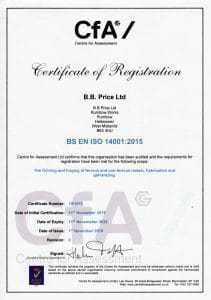 CfA - ISO 14001 - Certificate of Registration